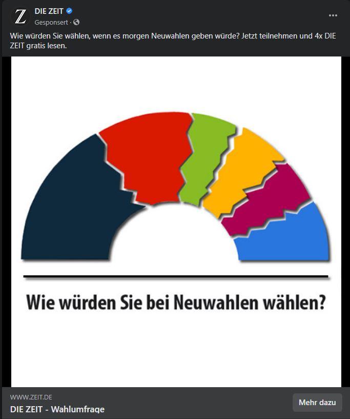 Screenshot meines Facebook-Feeds mit der Marketing-Umfrage der Zeit