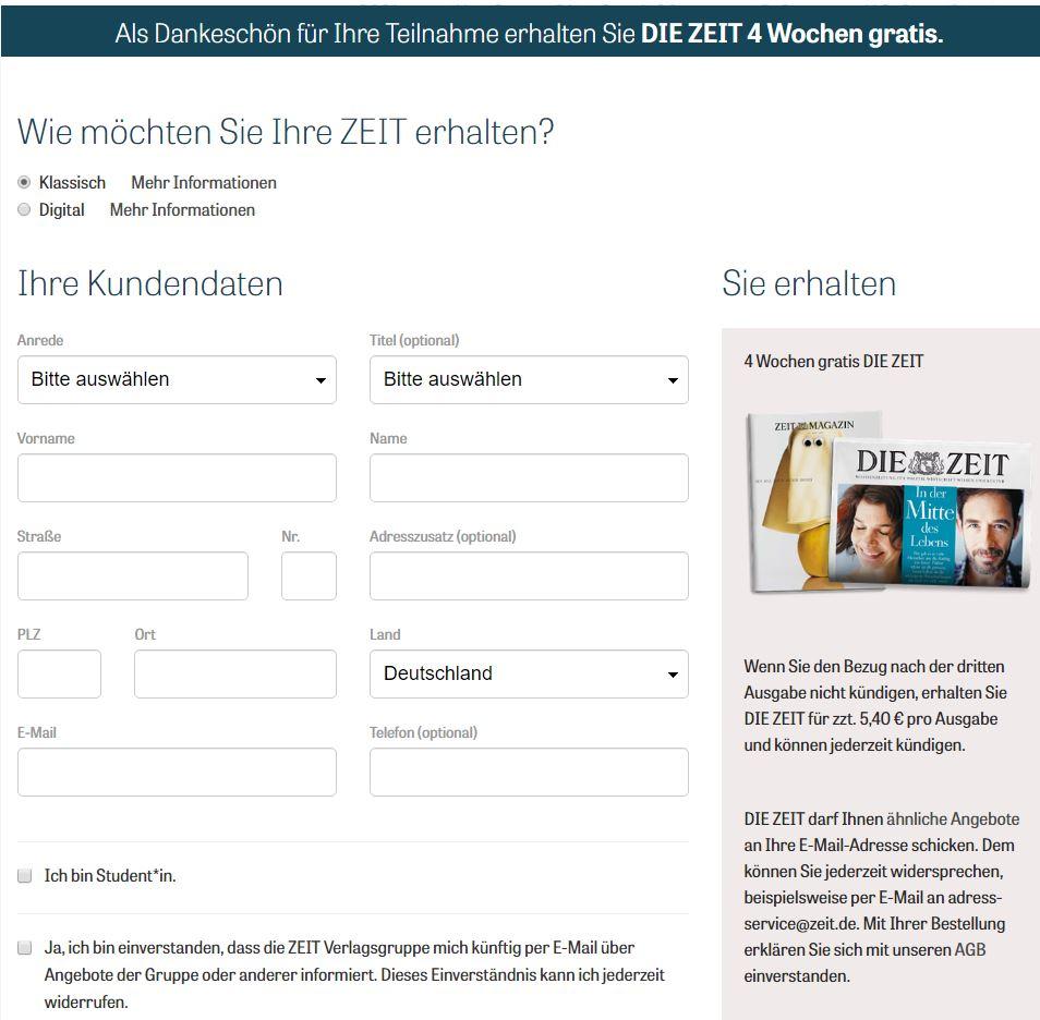 Screenshot nach Absenden der Stimme: Eingabe persönlicher Daten für ein Abonnement der Zeit nach Beantwortung der Marketing-Umfrage